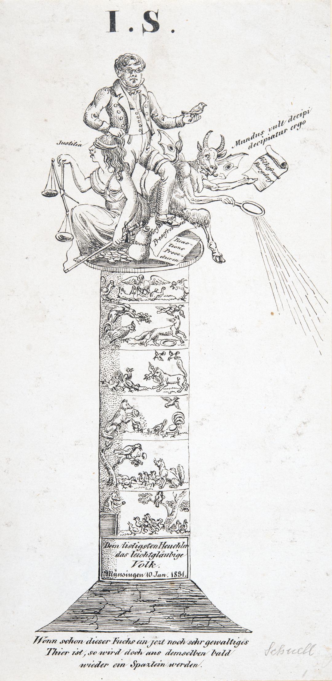 Karikatur aus dem konservativen Lager, vermutlich nach dem Volkstag in Münsingen BE 1831