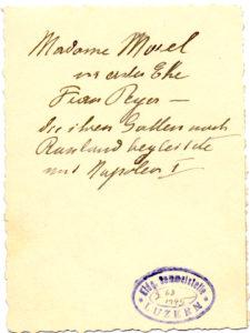 Fotografie von Katharina Morel, um 1870 (Rückseite).