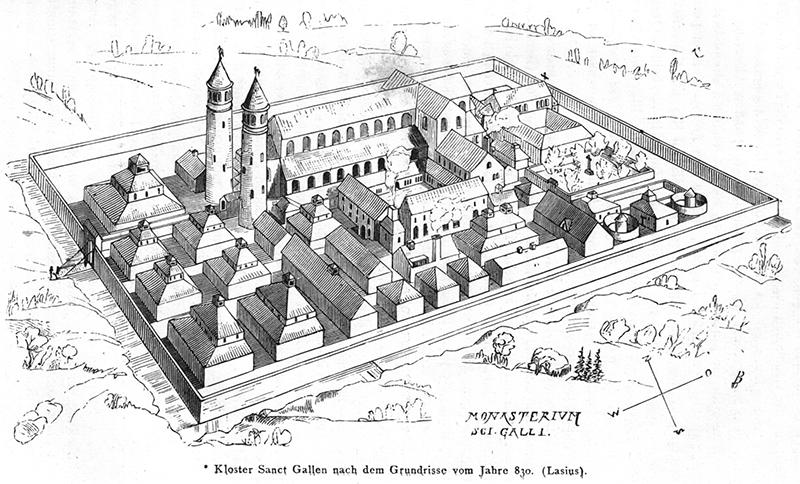 Rekonstruktionszeichnung des Klosters St. Gallen nach dem Klosterplan von Johann Rudolf Rahn von 1876.