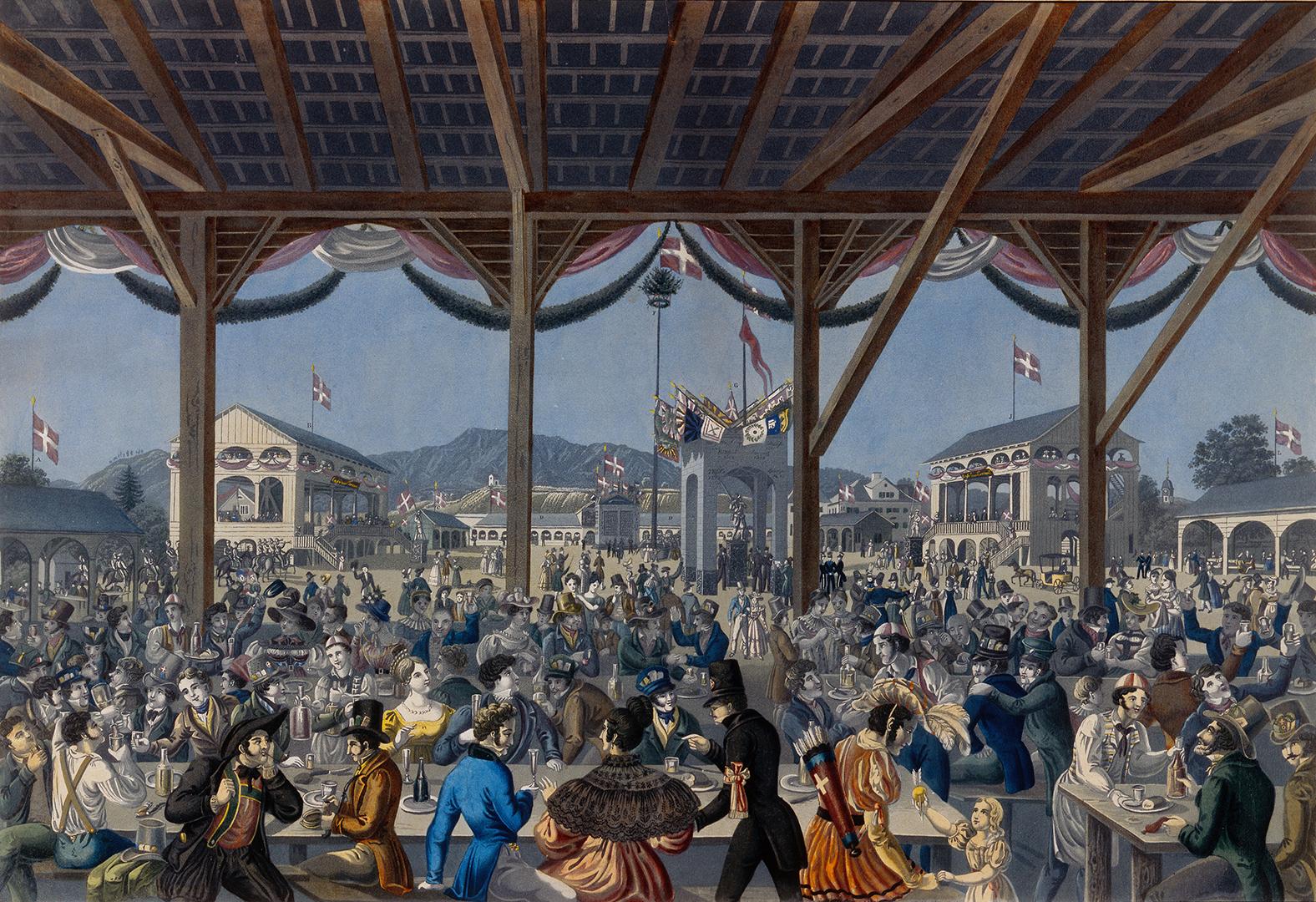 Eidgenössisches Schützenfest in Zürich 1834.