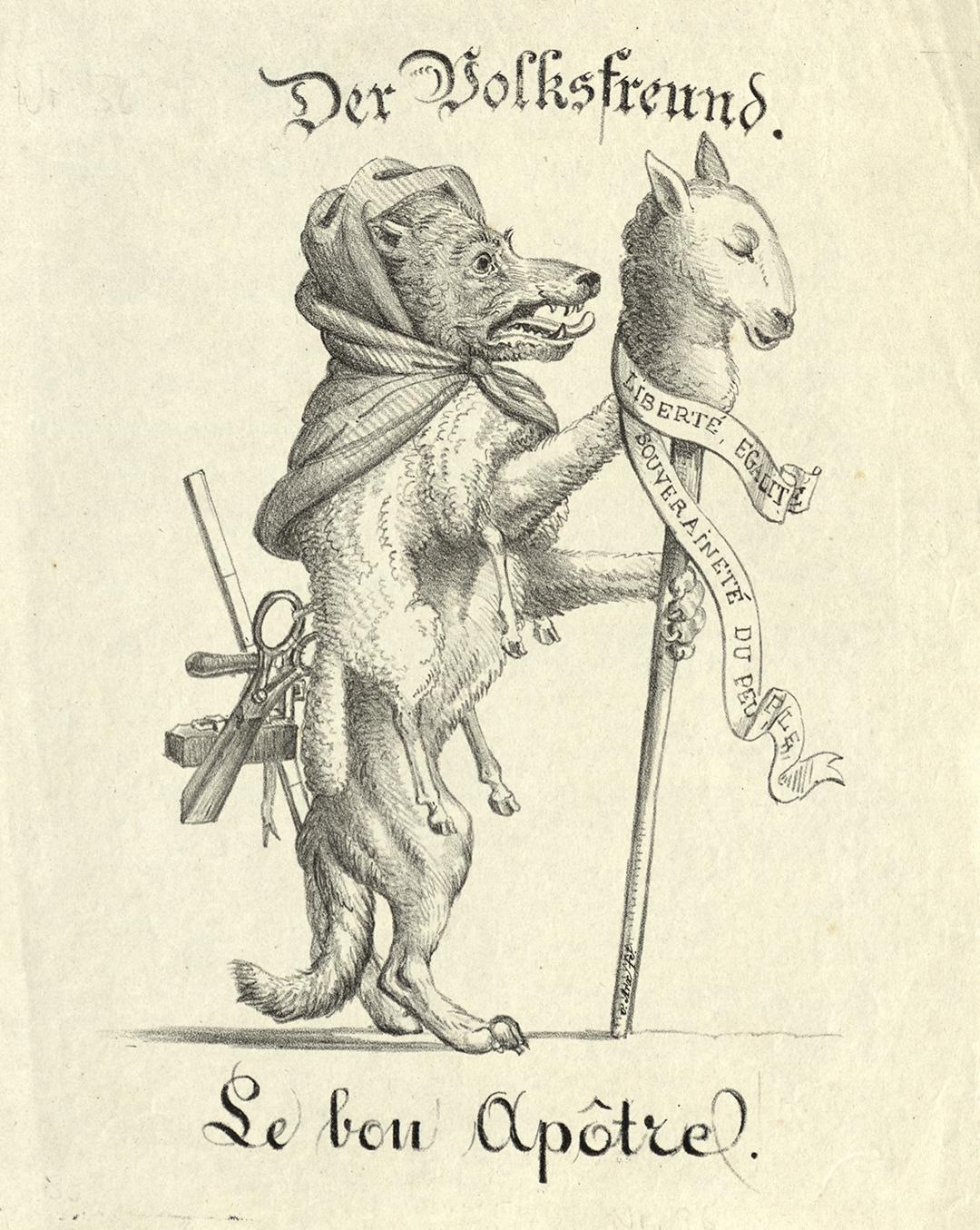 «Der Volksfreund – Der gute Apostel», Karikatur aus dem konservativen Lager, vermutlich 1831