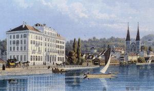 Hotel Schweizerhof, Luzern um 1850.