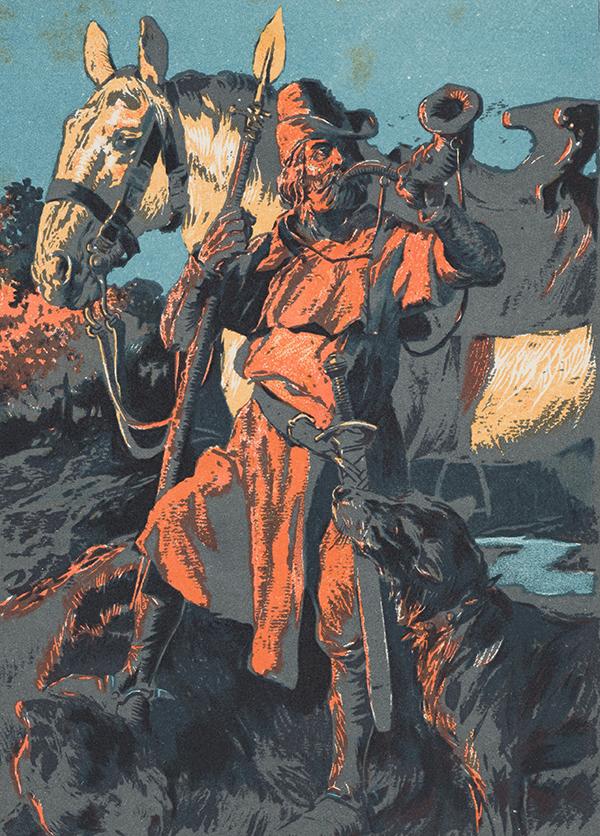 Werbekarte für ein Nahrungsmittelgeschäft. Sujet: Berchtold V. von Zähringen. Die Karte wurde anfangs des 20. Jahrhunderts produziert.