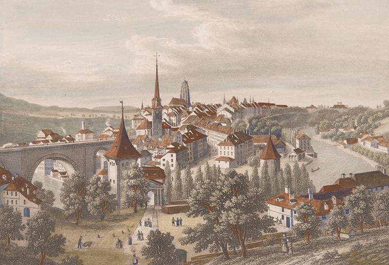 Druckgrafik von Bern aus dem 19. Jahrhundert.