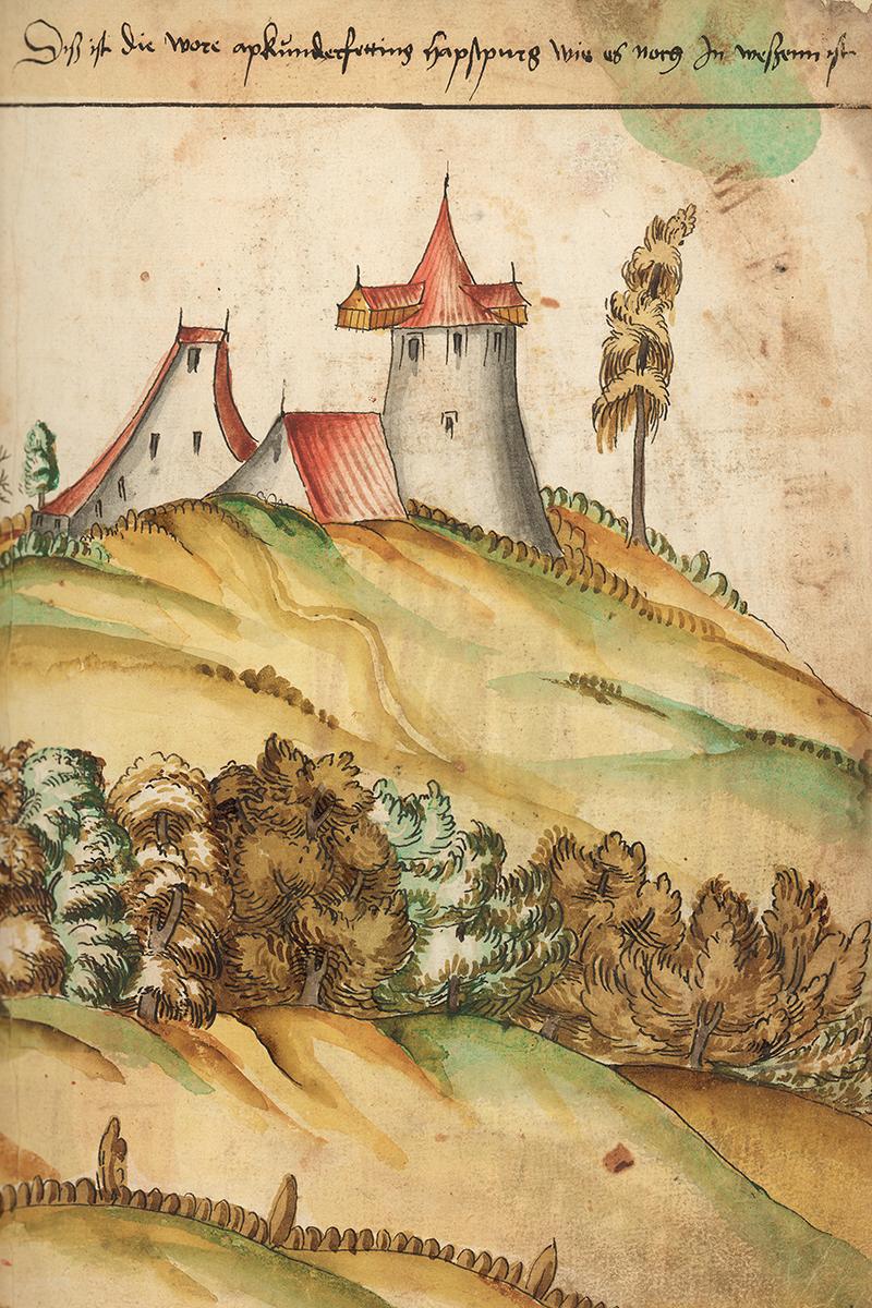 Illustration du château de Habsbourg vers 1560.