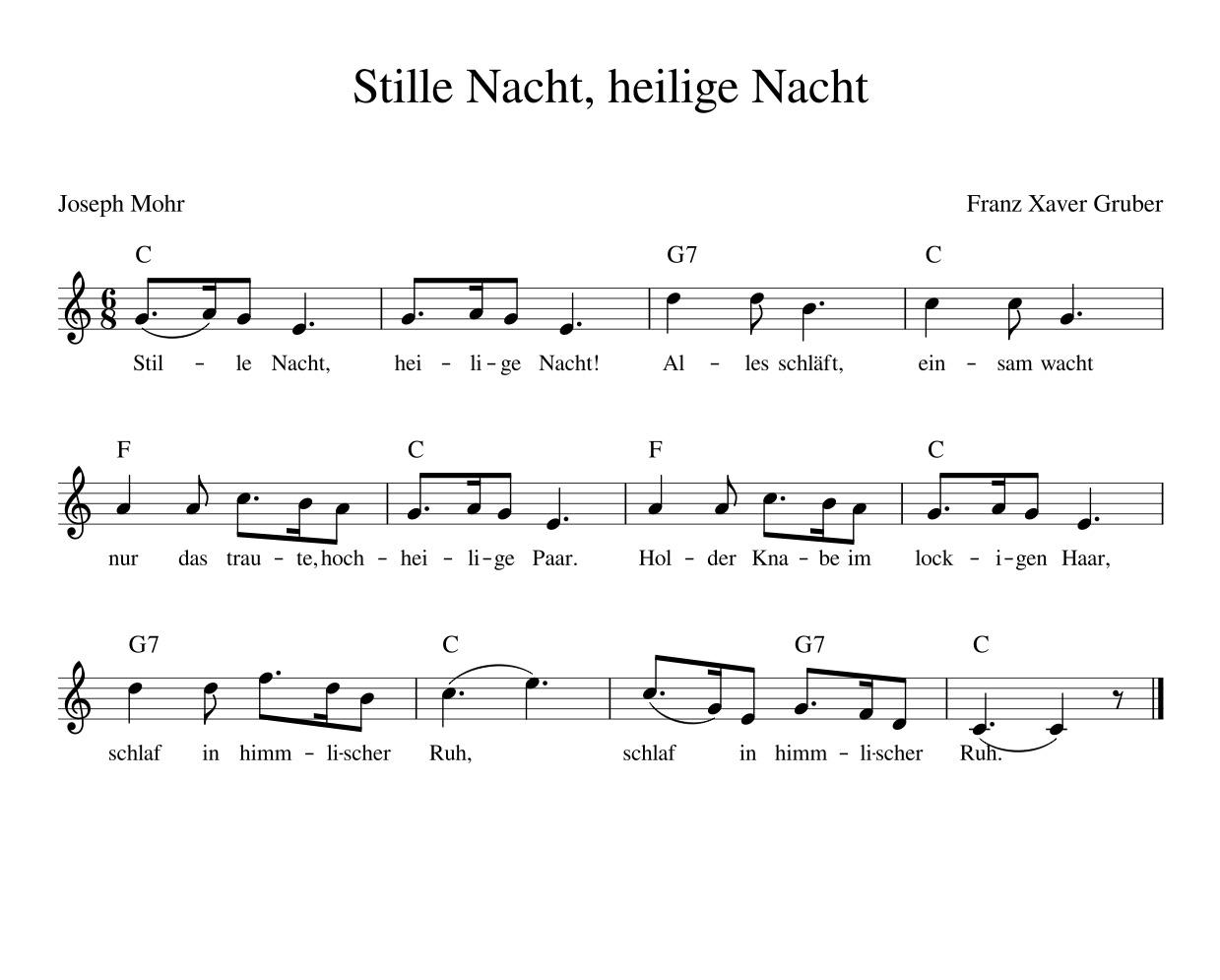 «Stille Nacht, Heilige Nacht» in der populären deutschen Version.