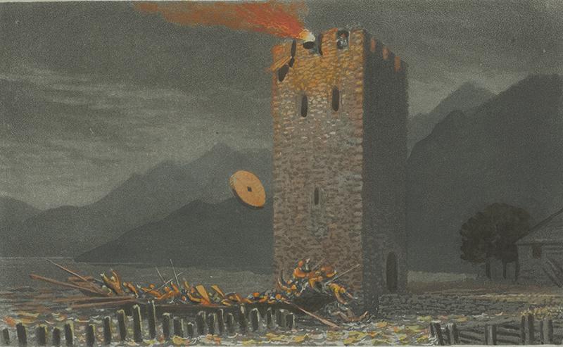 Gravure représentant la défense de la tour de garde de Stansstad.