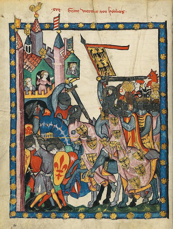 Werner von Homberg à cheval dans un tableau représentant la bataille de Soncino.