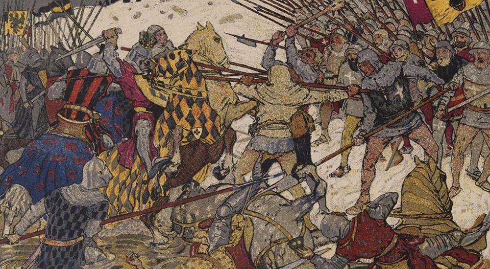 Carte postale de la bataille de Morgarten, 1915.