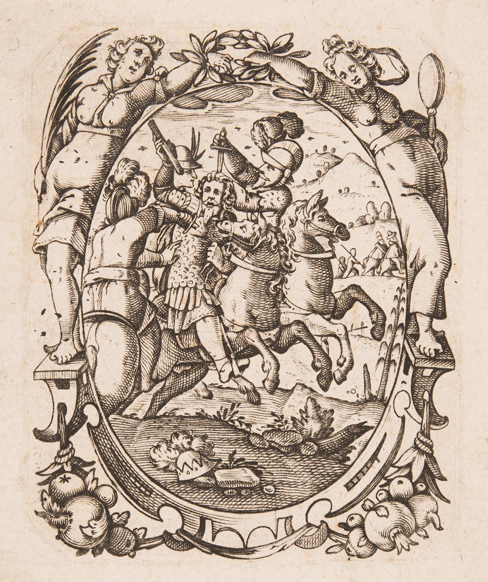 Kupferstich von 1600. Thema ist die Ermordung von König Albrecht bei Windisch.