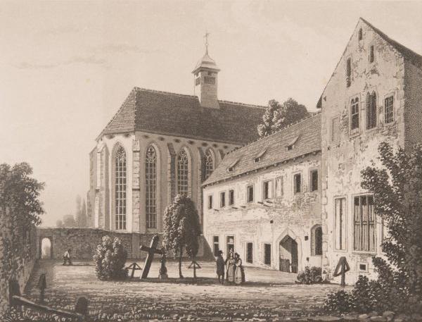 Dorfplatz von Königsfelden. Druckgrafik aus dem 19. Jahrhundert.