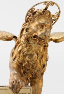 Trinkgefäss in Form des venezianischen Löwen von San Marco.