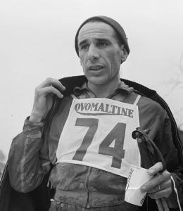 Cross-country skiing competition in Le Brassus, 1955. Portrait of Benoît Carrara with Ovomaltine.