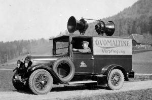 Advertising car for Ovomaltine in the 1930s.