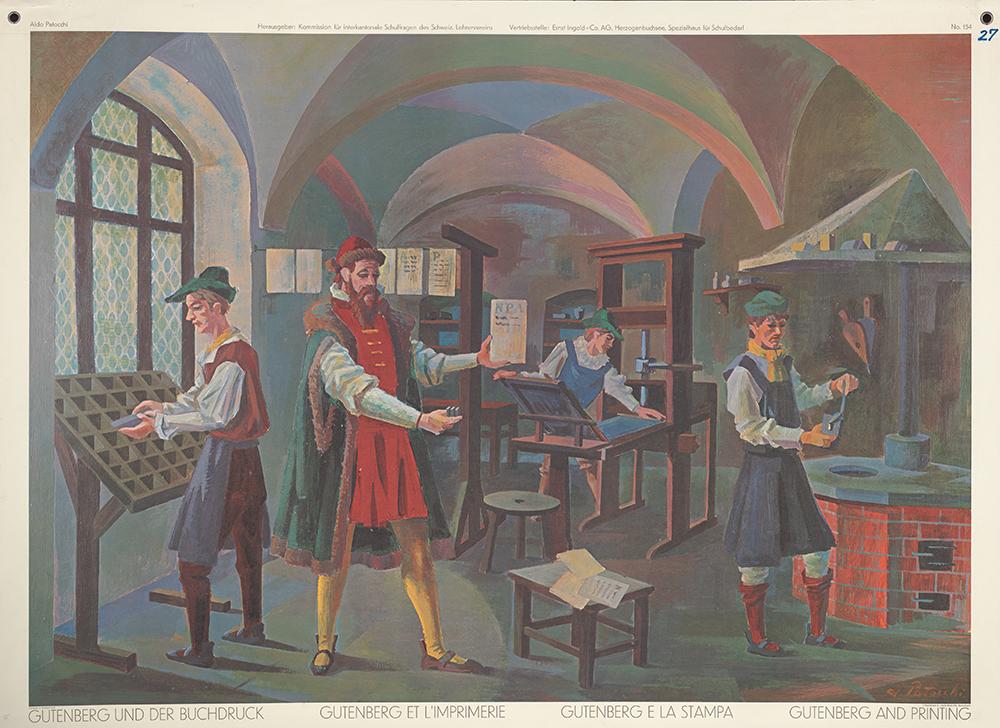 Tableau mural de 1972 sur le thème de Gutenberg et de l'imprimerie.