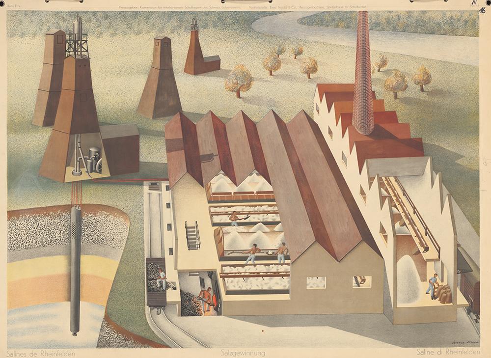 En 1937, Hans Erni représente l'extraction du sel.