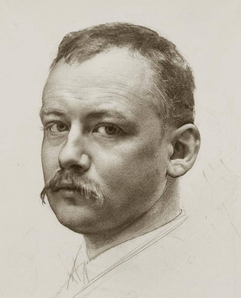 Selbstporträt des Malers Karl Stauffer, Datum unbekannt.