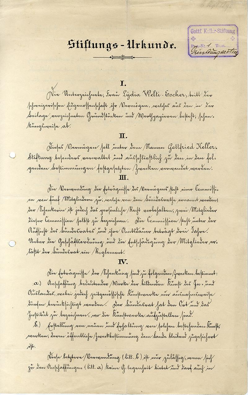 Lydia Welti-Escher vermachte mit der Stiftungsurkunde ihr Vermögen der Kunst.