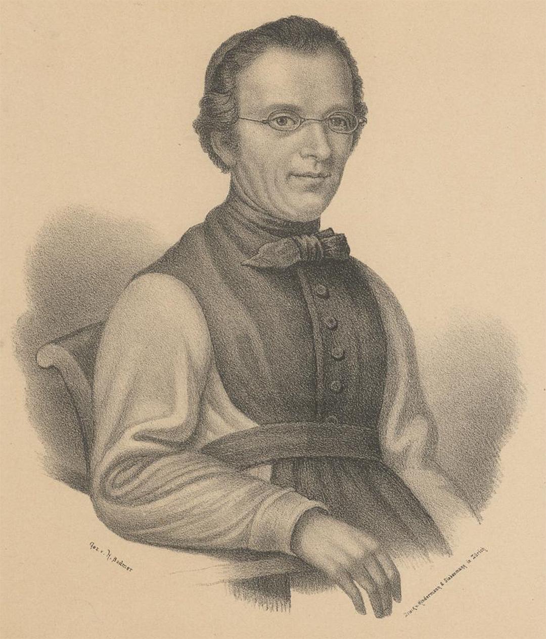 Der Komponist des «Schweizer Psalm», Alberich Zwyssig (1808-1854), gezeichnet von Heinrich Bodmer, 1876.