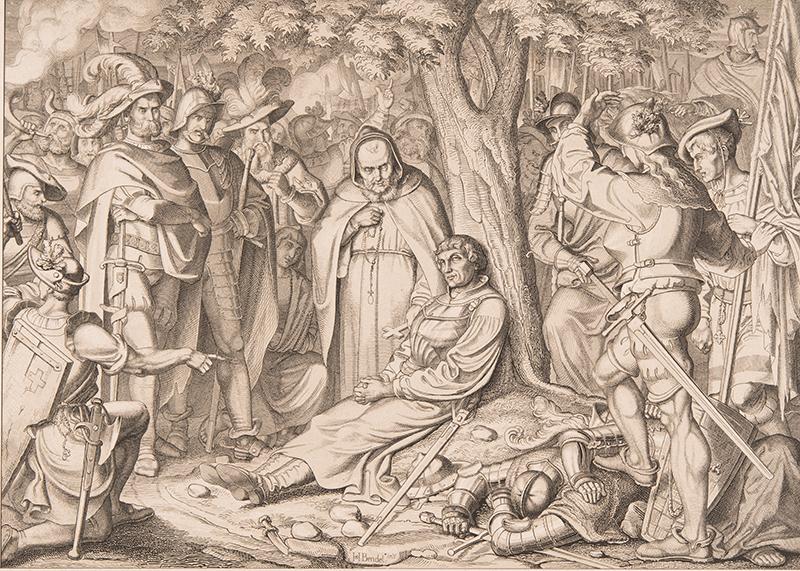 La mort de Zwingli à Kappel en 1531 (gravure du XIXesiècle).