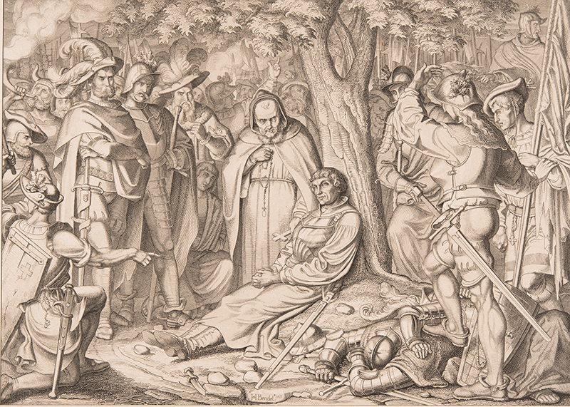 Druckgrafik des sterbenden Zwinglis bei Kappel 1531.