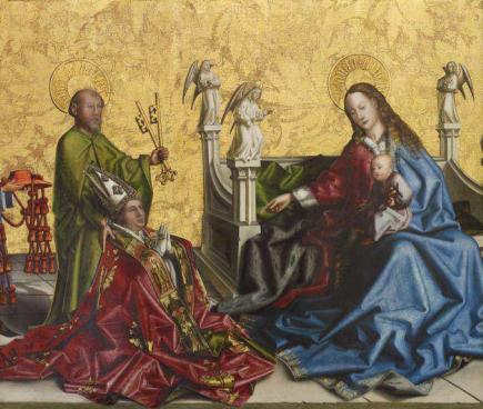 François de Metz, évêque de Genève entre 1426 et 1444, dans une représentation de Konrad Witz. François de Metz s'agenouille devant la Vierge à l'enfant, après avoir quitté son poste d'évêque pour devenir cardinal de Rome.