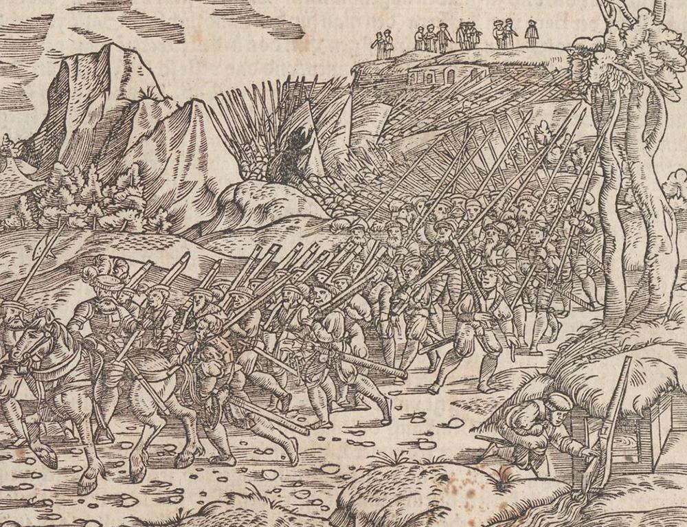 La conquête du Pays de Vaud, xylographie parue en 1548 dans la chronique de la Confédération.