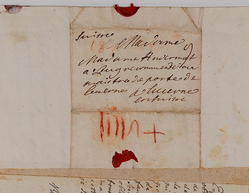 Lettre adressée par Beat Heinrich Josef Zurlauben à Maria Jakobea Zurlauben, Andermatt de son nom d'épouse, habitant à Zoug.
