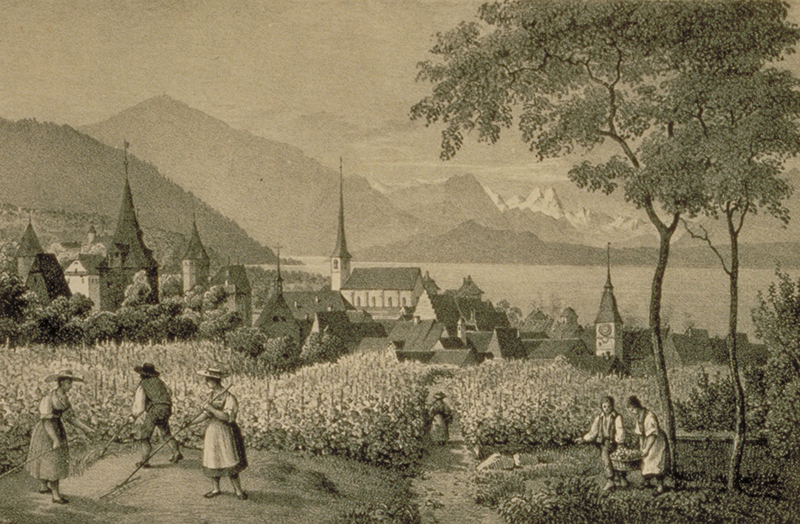 Druckgrafik der Stadt Zug aus dem 17. Jahrhundert.