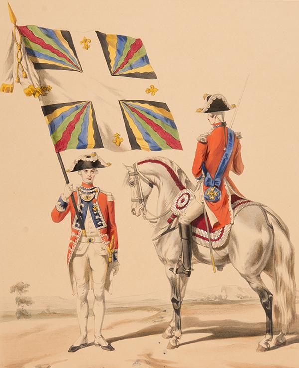 Un régiment de Gardes suisses à la cour de Louis XVI. Gravure du XVIIIe siècle.