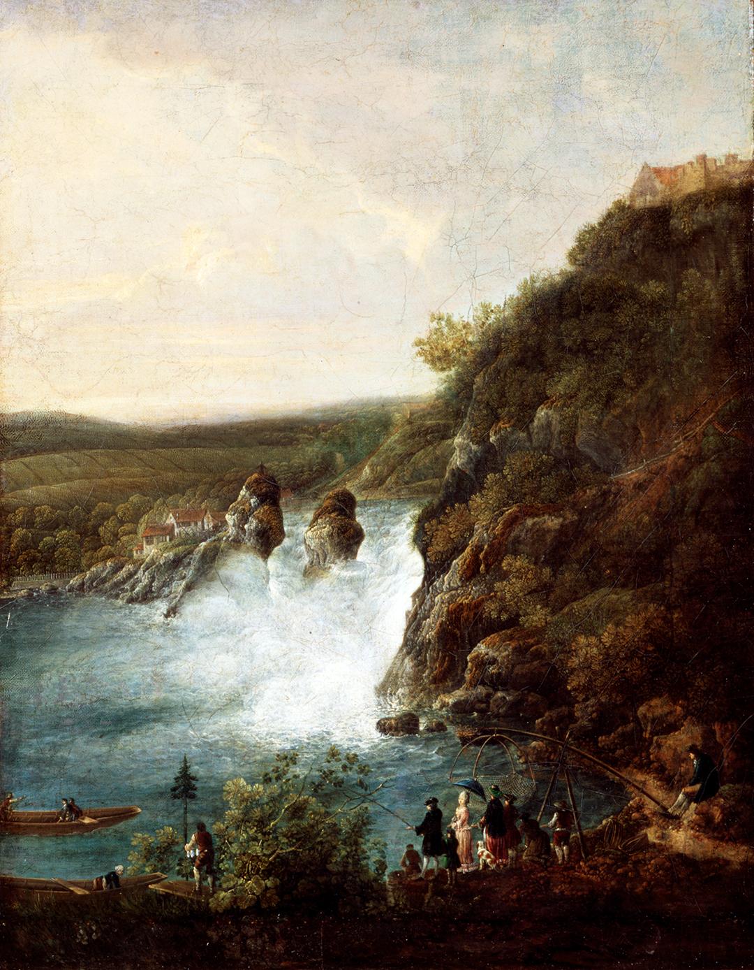 Johann Jakob Schalch, Der Rheinfall vom Zürcher Ufer aus, um 1780.