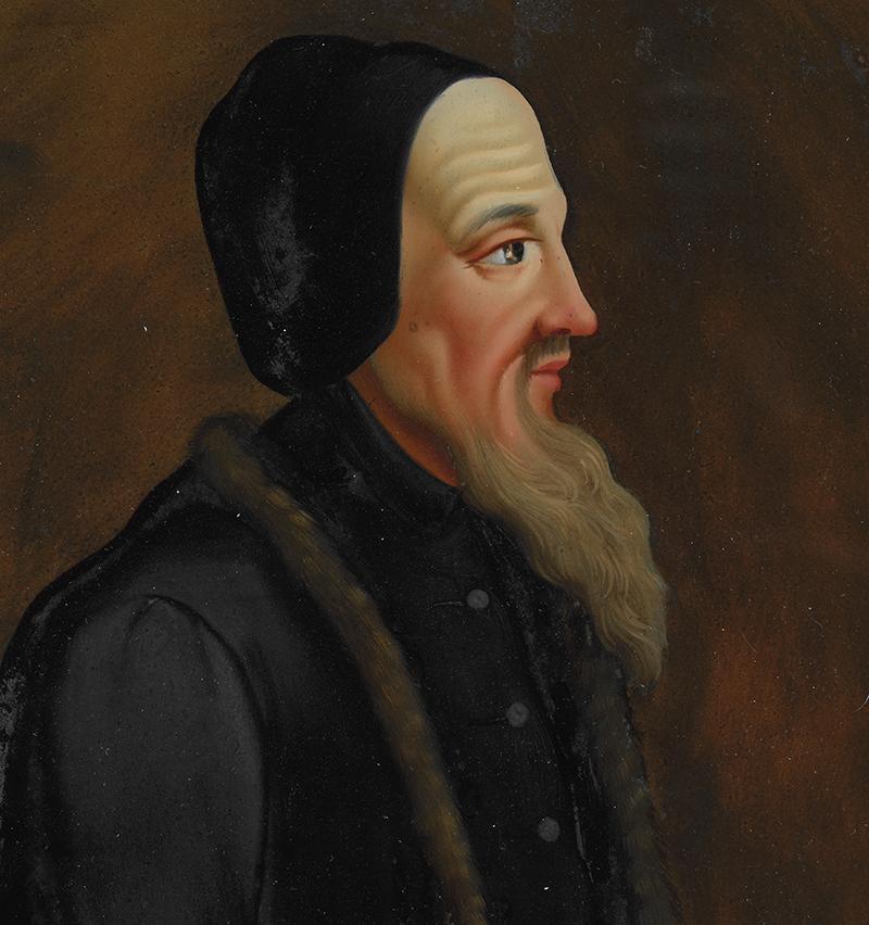 Hinterglasgemälde mit Jean Calvin als Sujet.