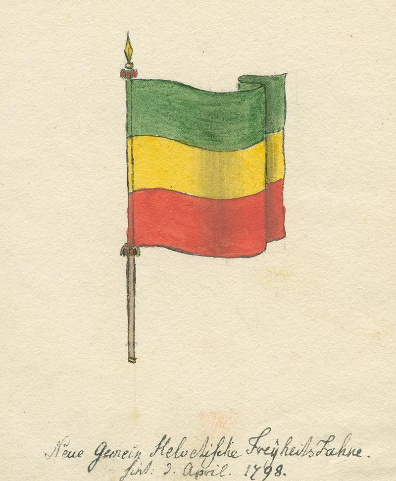 Dessin à la main du drapeau helvète, utilisé entre 1798 et 1803 sur le territoire suisse.