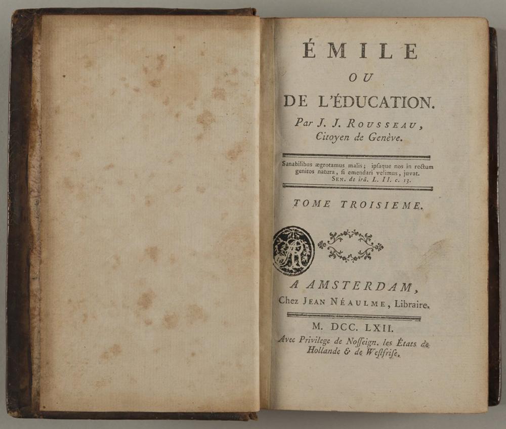 Émile ou De l'éducation, roman de Jean-Jacques Rousseau. L'ouvrage ne reçut pas toujours le meilleur accueil.