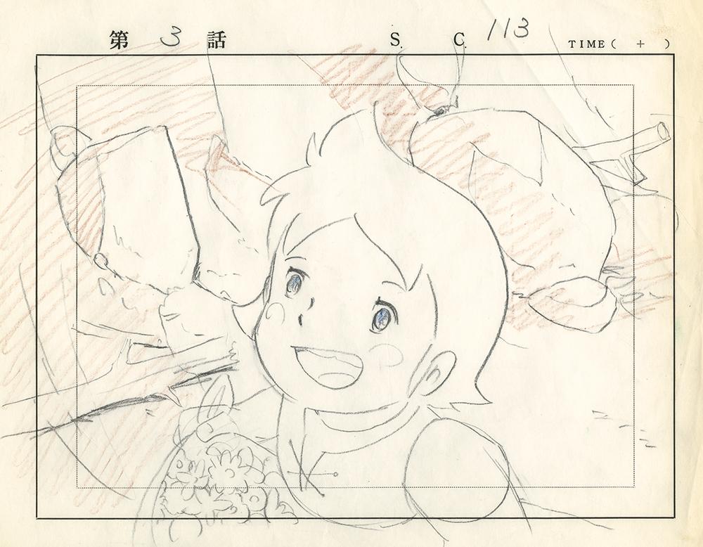 """Skizze für die Zeichentrickserie """"Alpenmädchen Heidi"""", die 1974 erstmals ausgestrahlt wurde."""