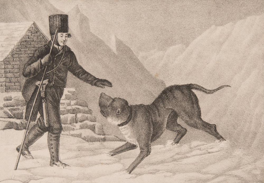 Chanoine et saint-bernard à la recherche de personnes ensevelies. Estampe réalisée vers 1825.