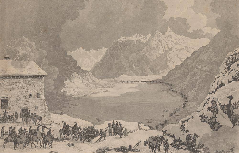 L'armée de Napoléon au Grand-Saint-Bernard. Estampe de 1820.