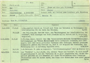 State security file on Max Frisch, 1948-1990, first index card.
