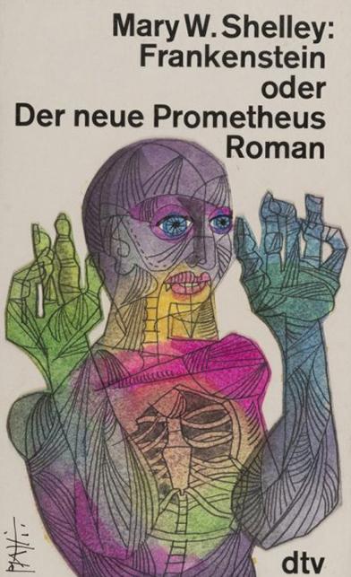 Buchcover von Celestino Piatti zum Roman Frankenstein.