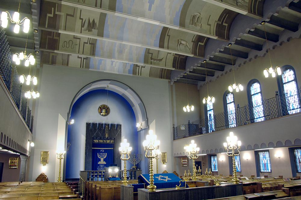 Interior view of the synagogue on Freigutstrasse in Zurich.
