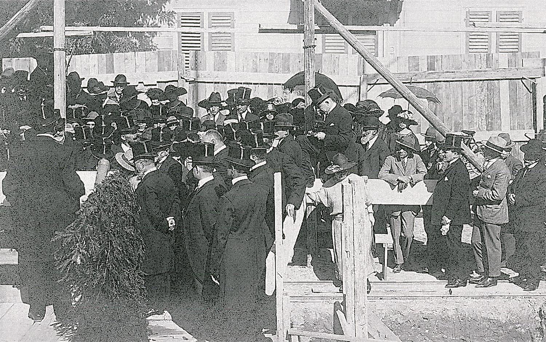 Grundsteinlegung der Synagoge an der Freigutstrasse 1923.