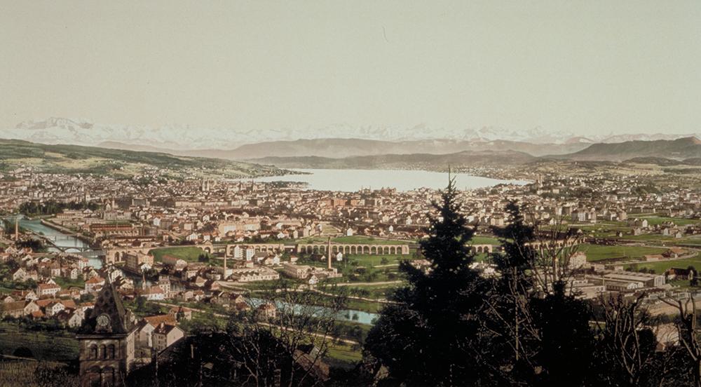 Zürich um 1900, Chromolithographie.