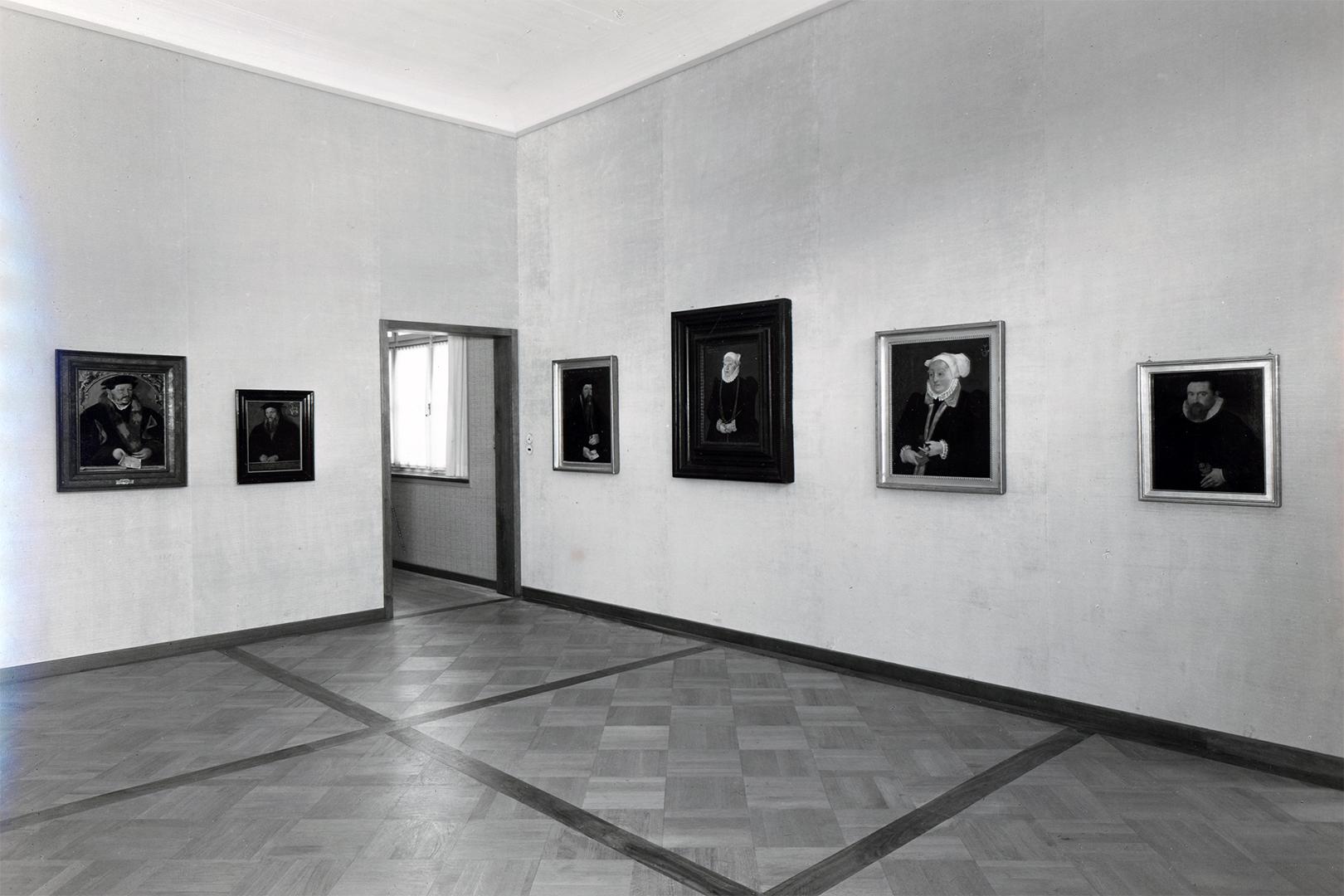 Das Stimmer-Kabinett im Zustand vor der Bombardierung, um 1940.