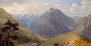 Ortspanorama Mollis von Ludwig Adam Kelterborn, 1856 (Ausschnitt).
