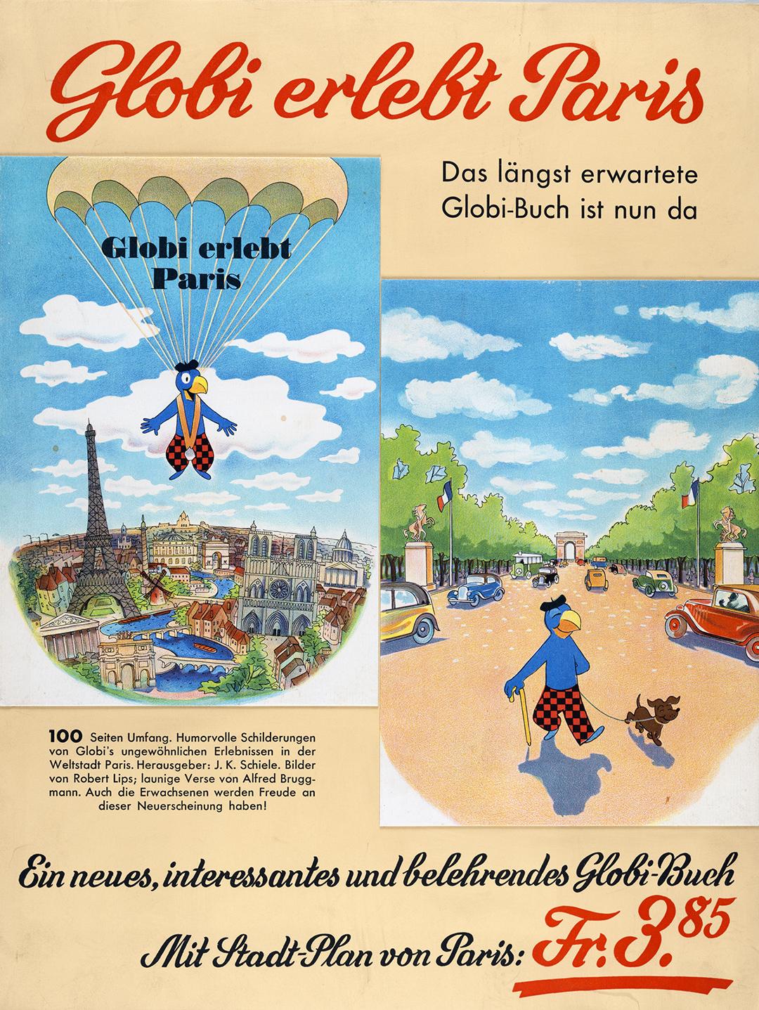 Anzeige für die Erstausgabe von «Globi erlebt Paris», 1946.