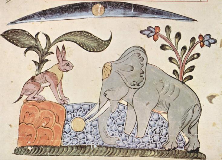 Der Hase und der Elefantenkönig vor dem Spiegelbild des Mondes in der Quelle, Buchmalerei aus Syrien, 1354, Oxford.