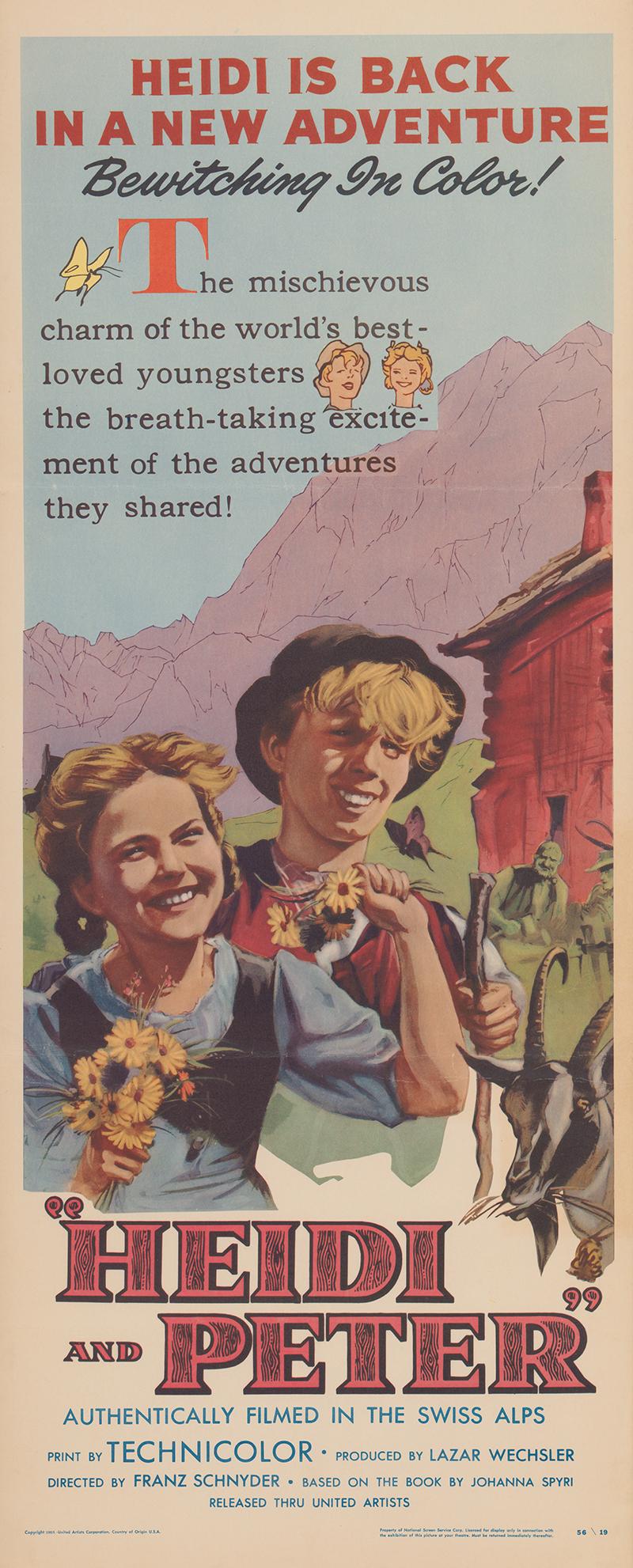 Filmplakat von Heidi and Peter, 1955.