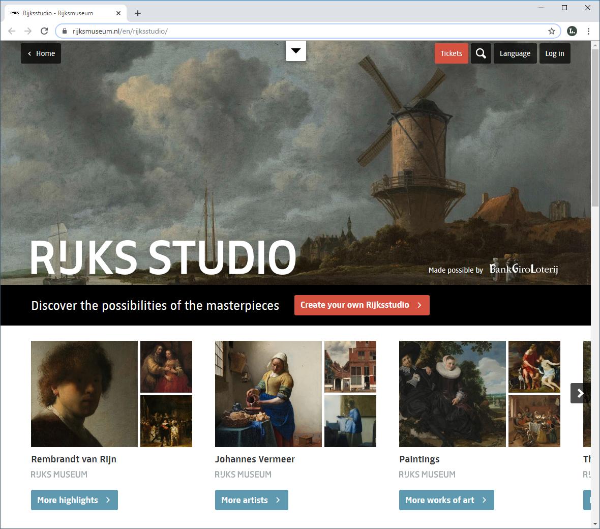 «Rijksstudio» des Rijksmuseum in Amsterdam