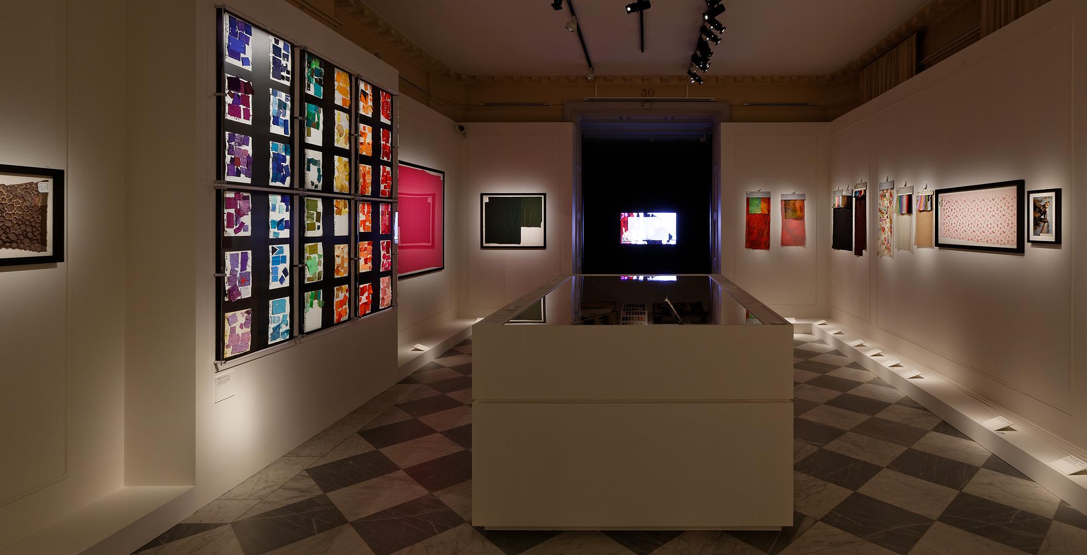 A view of the exhibition 'Yves Saint Laurent. Les coulisses de la haute couture à Lyon'. © Musée des Tissus Lyon / Pierre Verrier
