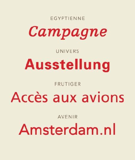 Einige von Adrian Frutiger entworfene Schriften.
